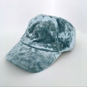 Light Blue Crushed Velvet Baseball Hat, NWT